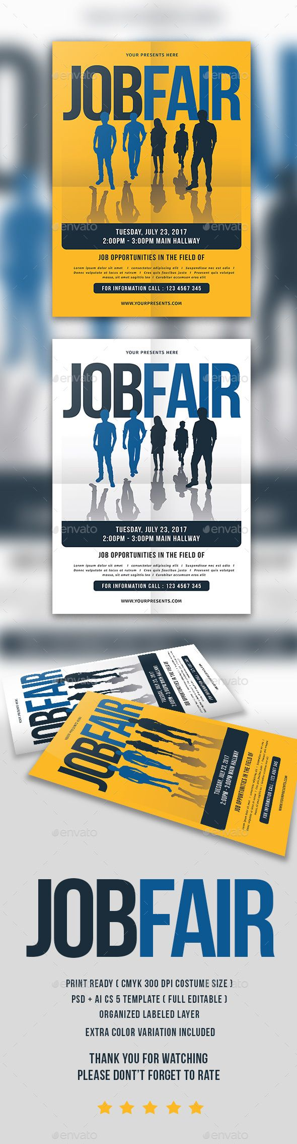 Job Fair Flyer - PSD Template • Only available here ➝ http://graphicriver.net/item/job-fair-flyer/16893810?ref=pxcr