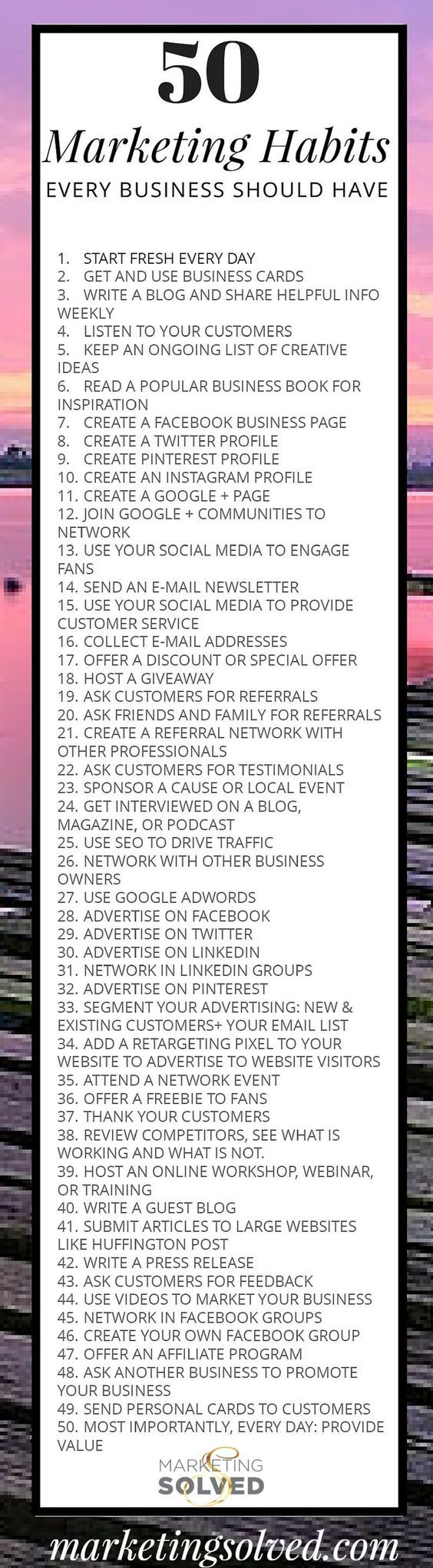 50 Smart Daily Marketing Habits Every Business Should Have. http://zanraconsulting.com/: