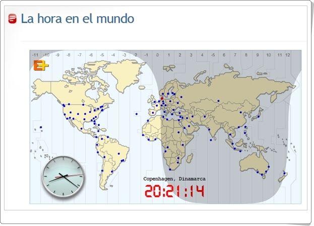 """""""La hora en el mundo"""" es un mapa interactivo, de educaplus.org, en el que están marcados los husos horarios del planisferio terrestre y se puede pinchar en las más importantes ciudades del mundo para que se muestre su hora real en ese mismo instante."""