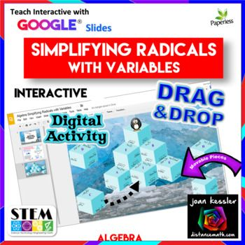 Simplifying Radicals with Variables Puzzle with GOOGLE Slides