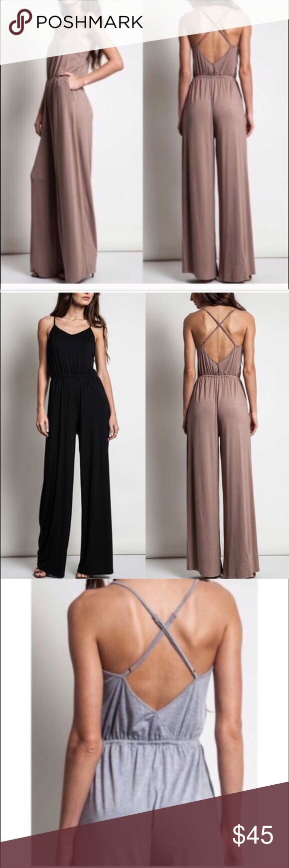 Sexy wide leg pants jump suit romper jumper dress Brand new sexy jump suit jumper. High wasted. Wide leg pants. Criss cross back. Backless open-back style. Adjustable straps, elastic waist. High quality material. Super comfortable! Nice stretchy fabric. Retail- new. MOCHA color only. Dresses