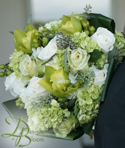 Green Bride's Bouquet with green cymbidium orchid - (re) Pinned by www.westpointorchids.com