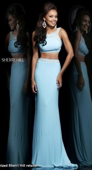 Cheap Sherri Hill 21316 Two-Piece Beaded Blue/Multi Long Bodice Evening Gown