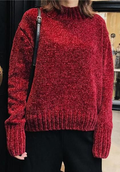 a50a27d7eb25 Date Red High Neck Round Neck Long Sleeve Vintage Pullover Sweater ...