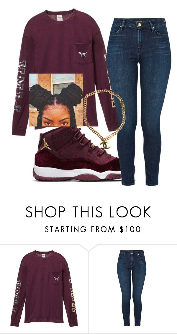 """Black girl swag"" by foreversamiah on Polyvore featuring Victoria's Secret, J Brand and Chanel"