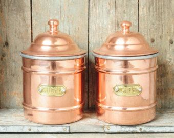 Copper Kitchen Canisters Set Of 2 French 1940