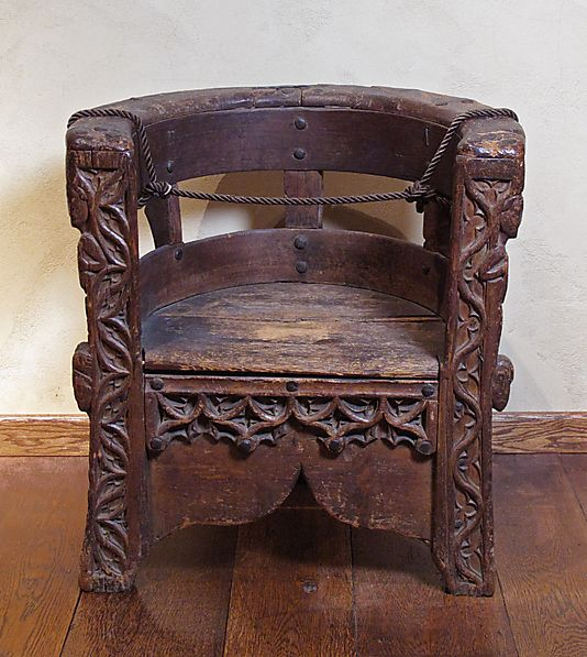 Not a Savonarola style.   Chair    Date:      15th century  Geography:      Made in, Piedmont, Italy  Culture:      Italian  Medium:      Pine, walnut and lime  Dimensions:      Overall: 28 x 26 1/4 in. (71.1 x 66.7 cm)  Classification:      Woodwork-Furniture  Credit Line:      Fletcher Fund, 1930  Accession Number:      30.93.1