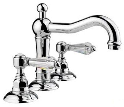 Nicolazzi bathroom basin mixer with auto pop up waste. Chrome or bright nickel finish with Petit Mont Blanc handles 78