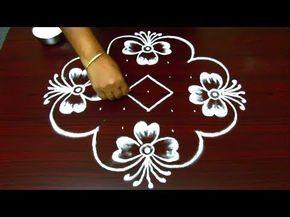 simple and creative rangoli designs || kolam designs with 9 dots || muggulu with dots - YouTube