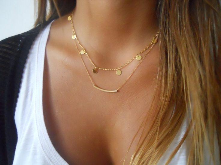 Overige - Coins and Tube - Gold layered Necklace Set - Een uniek product van Dana-Gal-kohen op DaWanda