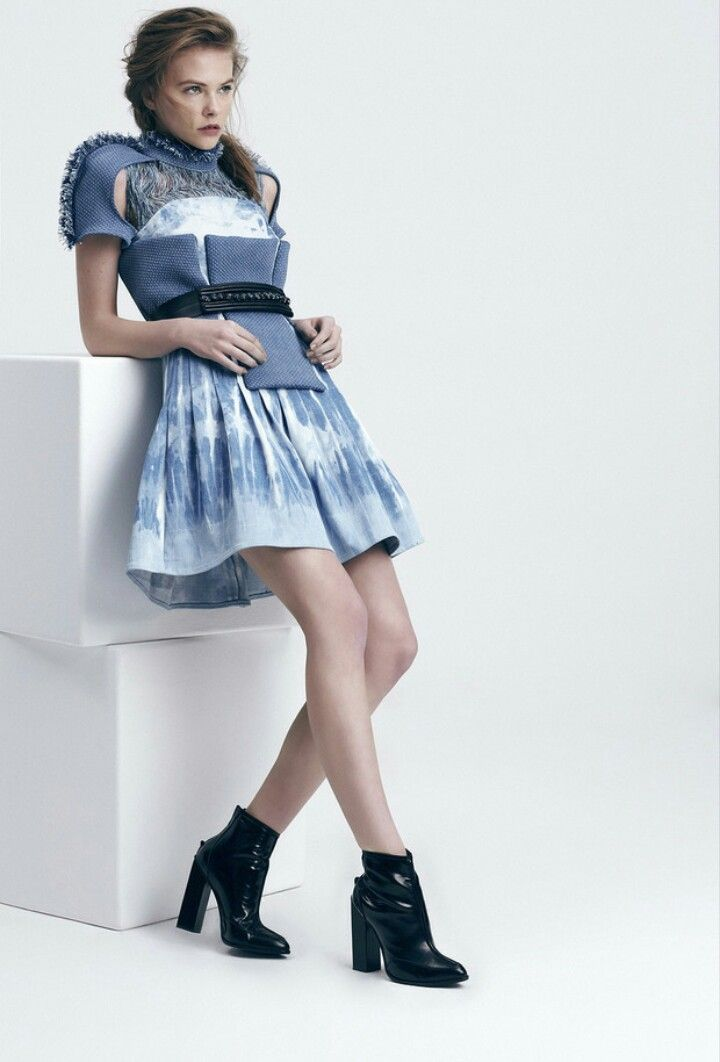 Hand-bleached, fringed and 3D detailed denim dress. #GulcinCengelforCalikDenim #CalikDenim #design #denim #jeans #dress #3DDenim