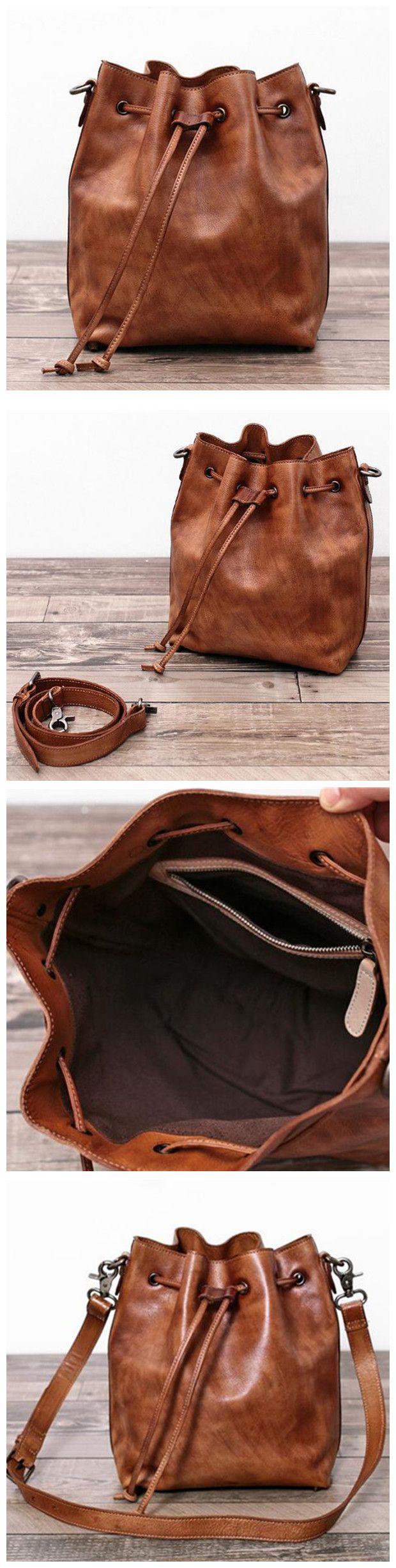 Genuine Leather Messenger Shoulder Bag Cross body Bag Leather Bucket Bag