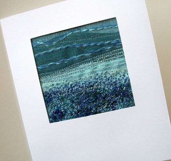 Blue beaded embroidered landscape fabric art card by StitchMikki
