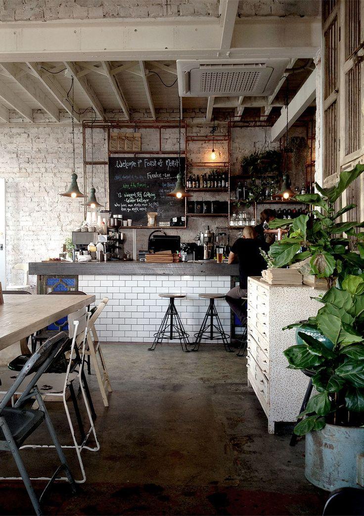 contraste de piso de cemento + fiddle-leaf fig ficus + bat en cemento y tiles blancos + paredes industriales