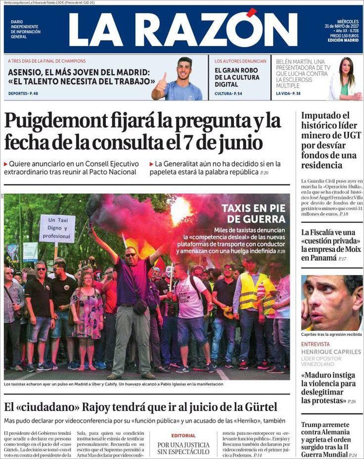 Portadas de periódicos: El referendum y la pregunta en Cataluña se decidirán el 7 de junio