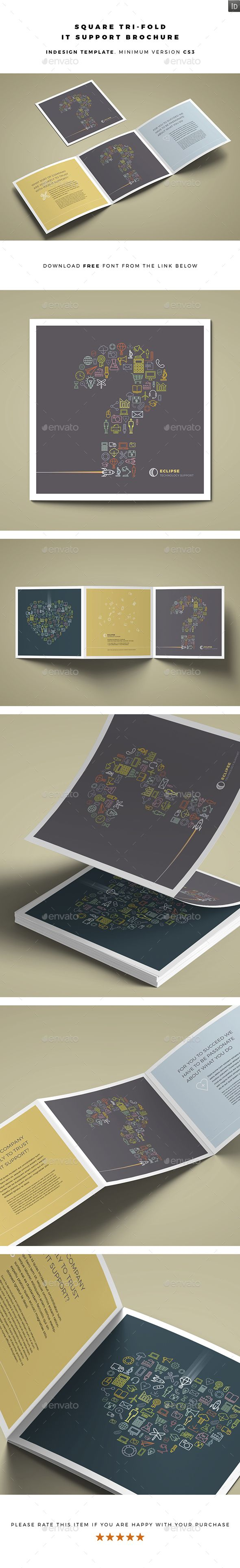 InDesign  Square Tri-fold IT Support Brochure  Template  • Click here to download ! http://graphicriver.net/item/square-trifold-it-support-brochure/15368037?ref=pxcr