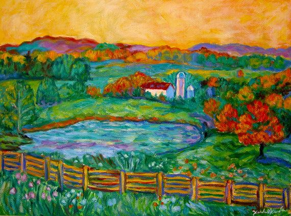 Golden Farm Scene Art 8x10 Impressionist by TowheeHillStudio, $168.00