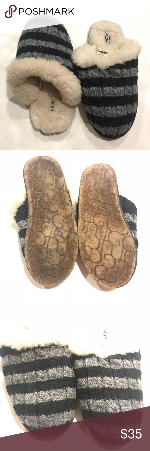UGG Kids Black Gray Striped Slipper Sheepskin 13 UGG girls size 13 gray and black striped Sheepskin slipper flats. Used in good condition ! UGG Shoes Slippers