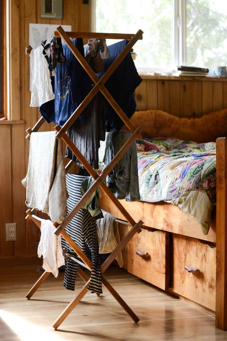 this is how I dry clothes all year long.  If it's not outside in the sun, it's on the wooden rack.