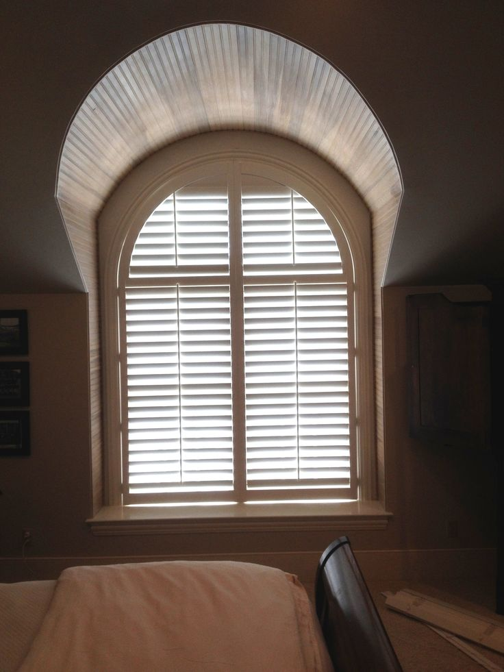 3 1/2 Inch Arched Plantation Shutters By The Louver Shop On A Bedroom Window.  Interior ...