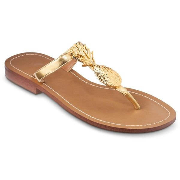 Lilly Pulitzer for Target Women's Gold Sandals Pineapple ($30) ❤ liked on Polyvore featuring shoes, sandals, shiny shoes, pineapple print shoes, gold shoes, white sandals and beach footwear