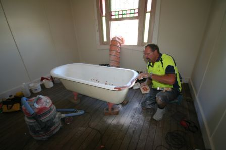 Before we found this bath hidden under timber panelling. What a find! www.propertyrevamped.com.au