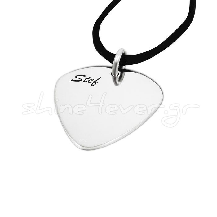 "Silver guitar pick in solid silver 925° with the names Lydia on one side and Stef on the other side, and a ""melodic"" heart, designed by a beloved friend of hers, that we created by using the F-clef and the G-clef. By Shine4ever.gr !"