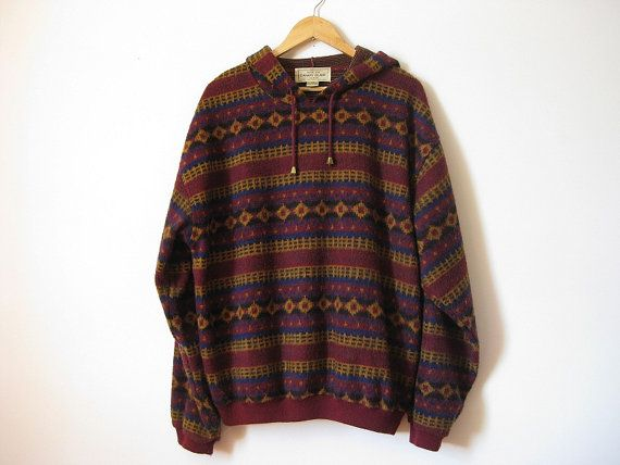 Multicolor geometric print fleece pullover 80s by EcoCentrik