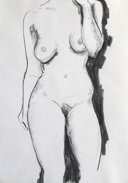 Zeichnung Stehender weiblicher Akt von Vespiary auf DaWanda.com