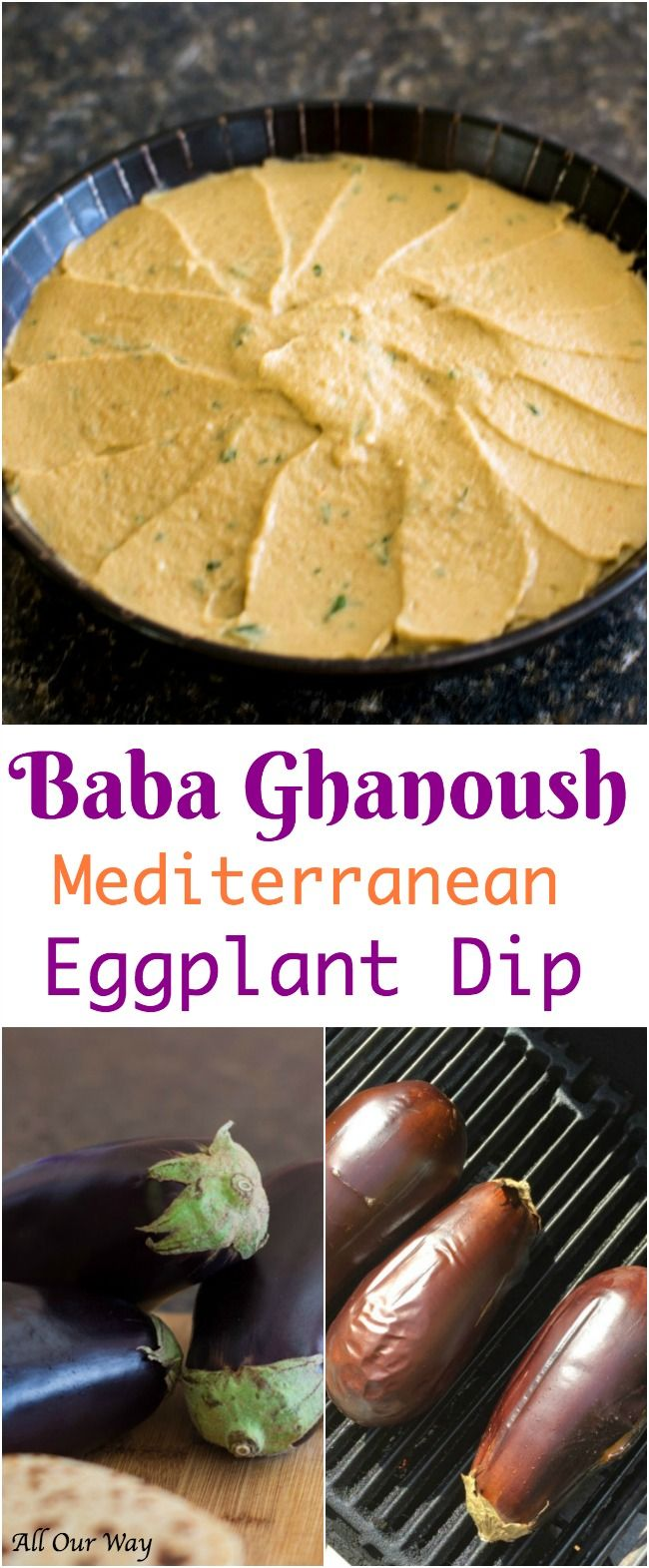 Baba Ghanoush is a Mediterranean eggplant dip that has a smokey, garlicky, nutty flavor that is delicious slathered on flatbread.