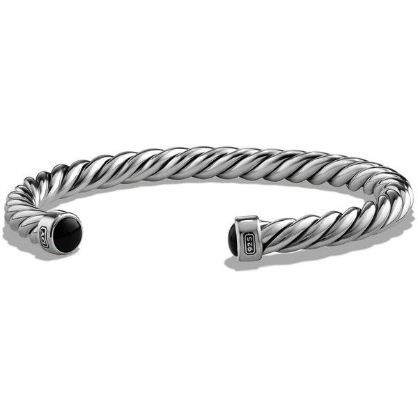David Yurman Cable Classics Cuff Bracelet with Black Onyx (1,560 PEN) ❤ liked on Polyvore featuring men's fashion, men's jewelry, men's bracelets, david yurman mens bracelets and mens cable bracelets