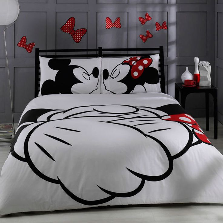 Disney Mickey Minnie Adore Bedding Set Queen Size Says Double Which Is European Check