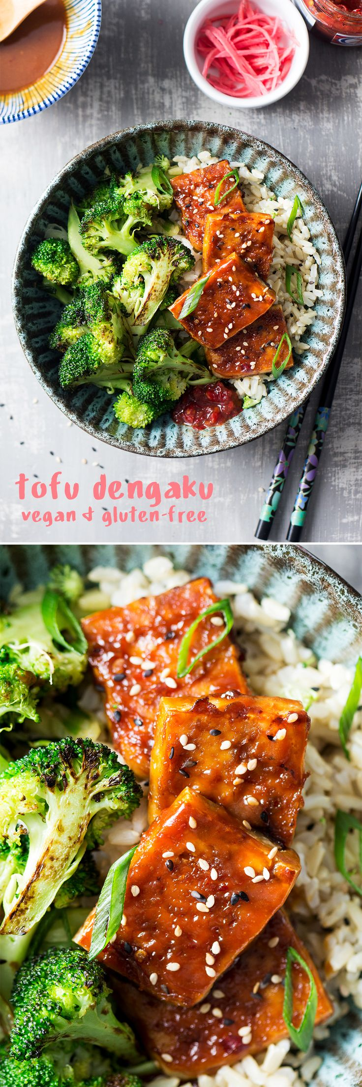 Tofu dengaku, miso glazed tofu  (vegan, GF)