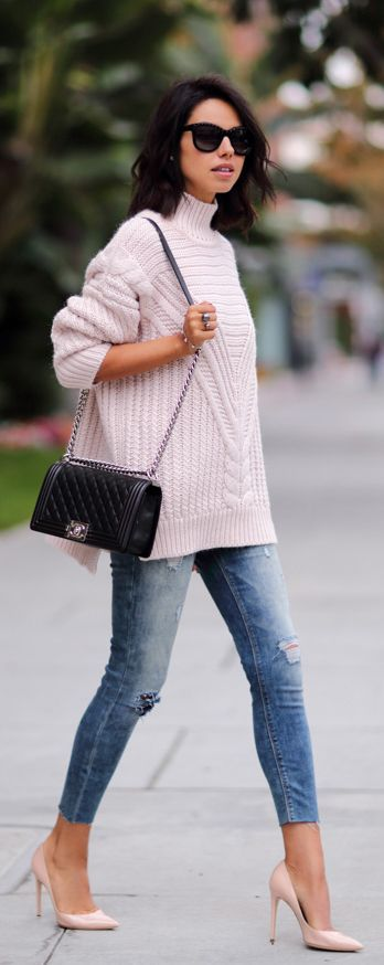#street #style / casual pink knit + denim