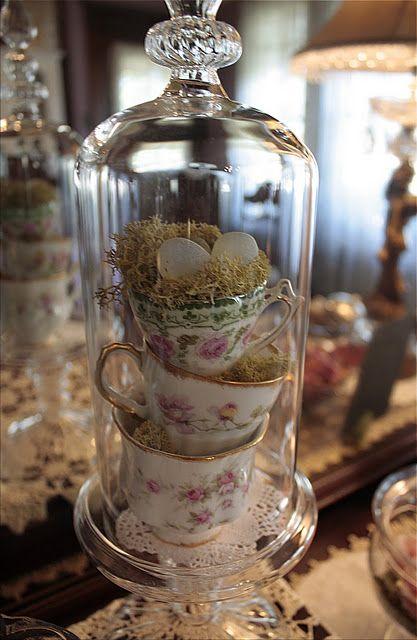 teacups and birdie nest