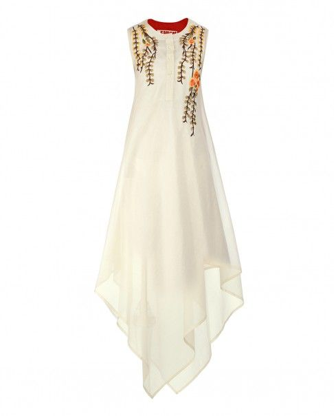 Off White Asymmetric Dress with Floral Embroidery