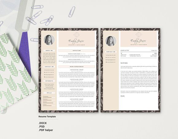 23 best Resume Template + Cover Letter Professional \ Modern - resume template docx