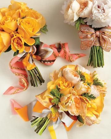 Vintage silk scarves jazz up a simple rose bouquet.