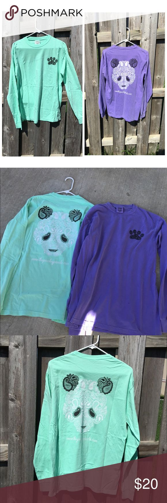 1 LEFT! New paisley panda long sleeve shirts Sea foam green and purple, both are for sale in various sizes. Paisley panda shirts are to support endangered pandas( similar to IVORY ELLA shirts) ❤️ they are both comfort colors shirts, ridiculously comfortable and cute  Paisley Panda Tops Tees - Long Sleeve
