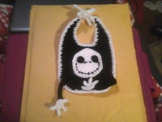 Handmade crocheted Jack the Skellington from Nightmare Before Christmas baby bib with pacifier holder.  Check it out on my yardsellr!!