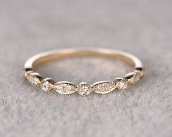 Natural DiamondsHalf Eternity Wedding RingSolid 14K by popRing