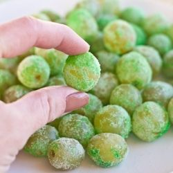 Sour Patch Grapes {Leprechaun Candy}.  Get your candy fix without all the candy!  I think I might mix in some lime KoolAid to make this a bit more sour.
