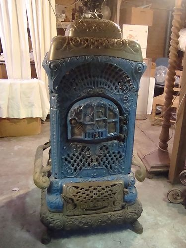 "Antq Cast Iron Wood Burn Parlor Stove ""Moores Air Tight ..."