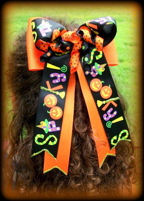 Halloween Hair Bow...Holiday Hair Bow....Halloween by kikibowz, $10.00