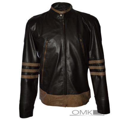 jaqueta de couro masculina preta com marrom