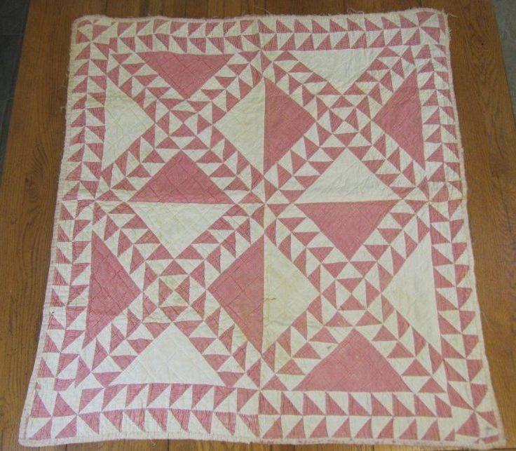 "Authentic c 1880s Antique Crib Quilt CANDY Stripe Tiny Pcs 37"" x 34"""