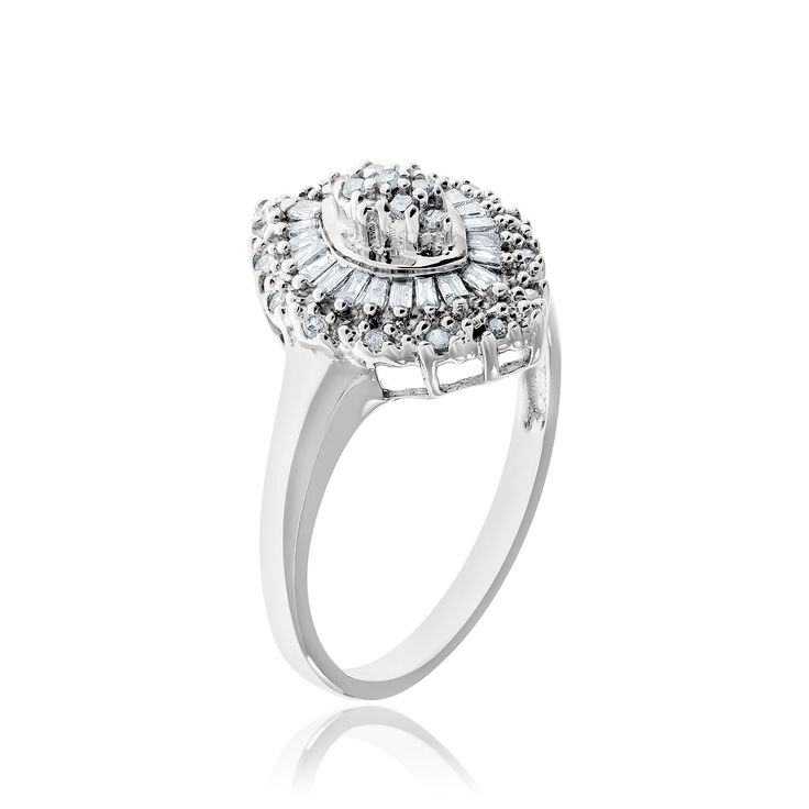 10kt white gold and diamond ring.
