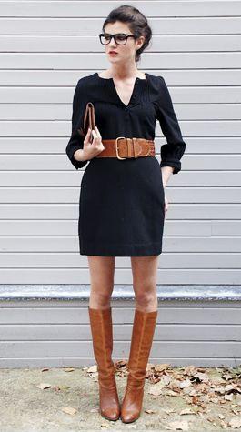 wide belt + tall boots