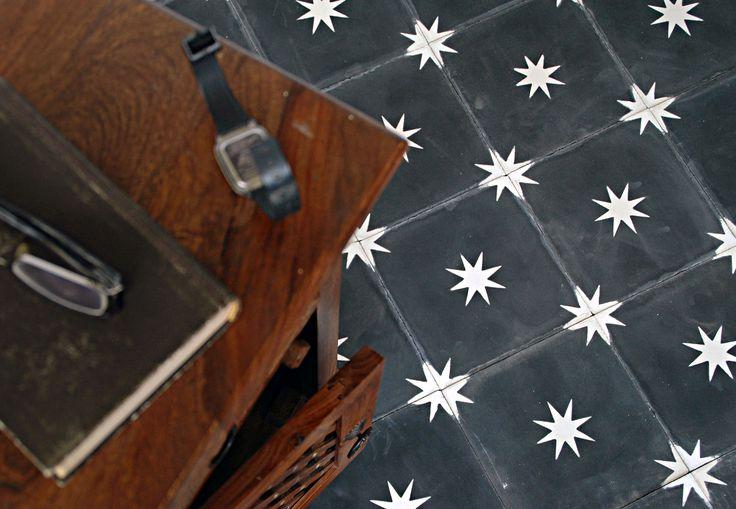 etoile cement tiles in grey