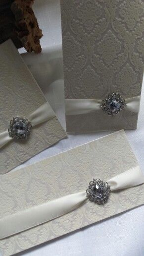 Gorgeous flocked invites with Ivory satin and the Ella embellishment